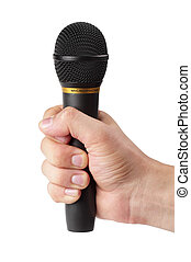 Black microphone in the hand