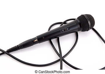 black microphone with a wire on a white background