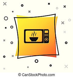 Black Microwave oven icon isolated on white background. Home appliances icon. Yellow square button. Vector Illustration
