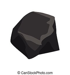 Black mineral stone, geological industry element vector Illustration on a white background