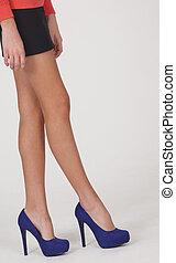 Black Mini Skirt and Blue Heels