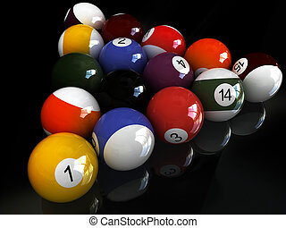 black mirror pool - billiard balls. over black mirror View...