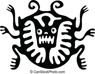 mite or beetle in native style, vector - black mite or...