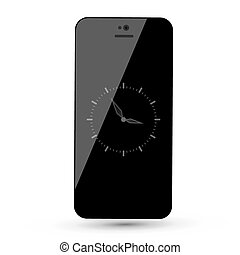 Black Mobile Phone with Analog Clock Vector Illustration Isolated on White Background