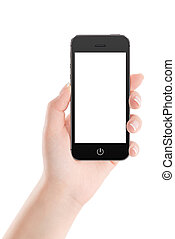 Black mobile smart phone with blank screen in female hand