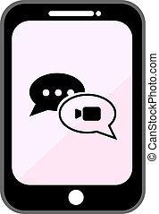 Black mobile UI kit WhatsApp messenger. Smartphone mockup...