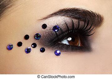 black , mode, oog maken zich op