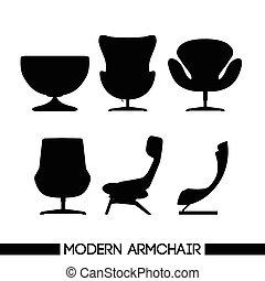 Black modern armchair set, in outli