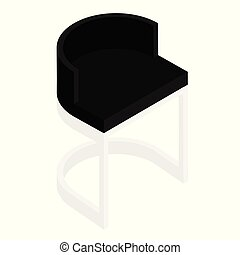 Black modern chair isolated on white background.