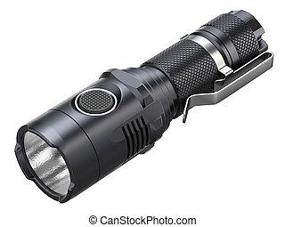Black modern LED tactical flashlight isolated on white...