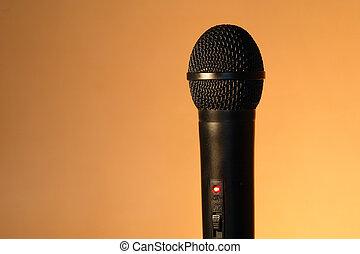 Black Modern Microphone - A modern black handheld ball head...