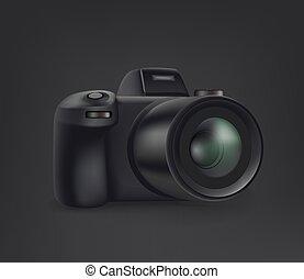 Black modern mirrorless digital camera on black background