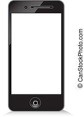 Black modern phone on white