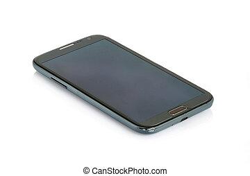 Black modern smartphone isolated.