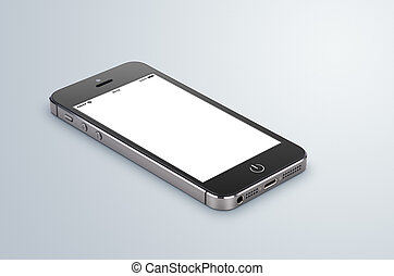 Black modern smartphone with blank screen lies on the gray surface. Whole image in focus, high quality.