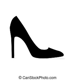 Black Modern Stilleto Shoe Isolated Silhouette