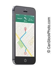 black , moderne, beweeglijk, smart, telefoon, met, kaart, navigatiesysteem, navigatie, app, op, t