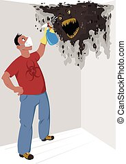 Black mold - Man in a respiratory mask with a bio-hazard...