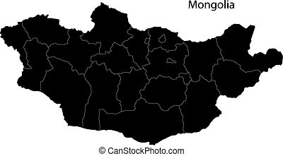 Black Mongolia map - Map of administrative divisions of ...