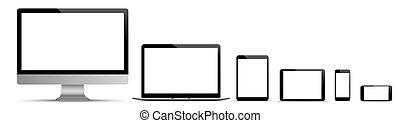 Black Monitor Notebook Tablet Smartphone Set Headline
