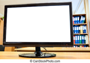 Black monitor with screen isolated on a desk in the office