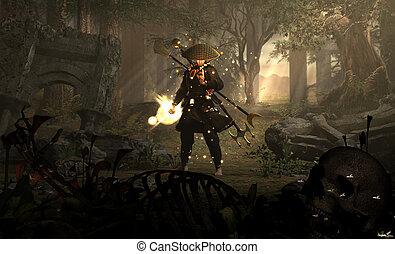 black monk - High resolution fantasy scene with mystic monk