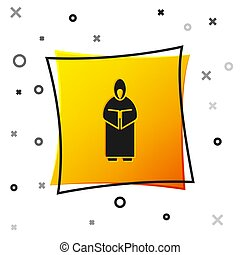 Black Monk icon isolated on white background. Yellow square button. Vector Illustration