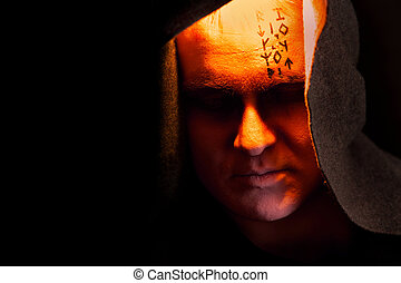 Black monk - Mystery monk with the runes on the face....