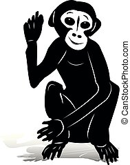 Black monkey sitting with raised right hand (gesture, hello), silhouette on white background,