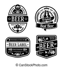 Black monochrome beer labels of different shapes. Vector
