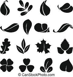 Black monochrome symbols of spring leaf. Vector shapes. Summer icon set isolate on white background