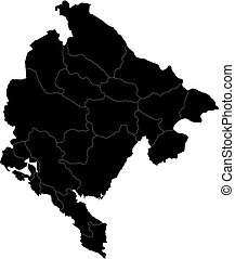 Black Montenegro map - Administrative division of Montenegro