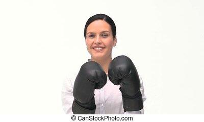 black , mooi, boxing handschoenen, vrouw