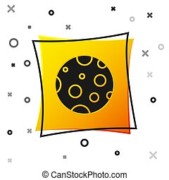 Black Moon icon isolated on white background. Yellow square button. Vector Illustration