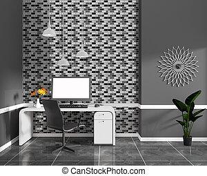 Black Mosaic tile wall design on black granite tile in ...