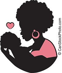 black mother with a baby in her arms