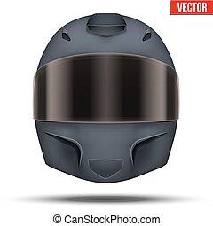Black motor racing helmet with glass visor.