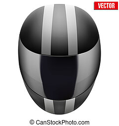 Black motorcycle helmet with strip