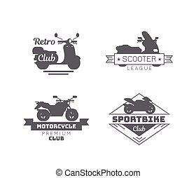 Black Motorcycle Logotypes Set - Black motorcycle logotypes...
