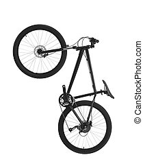 black mountain bike isolated on white background
