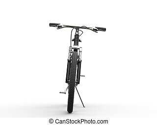 Black mountain bike leaning on sidestand - front view