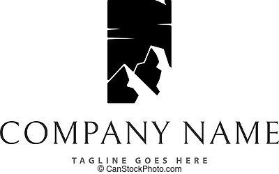 Black mountain vector logo image