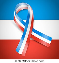 black mourning France - Vector ribbon flag of France, above...