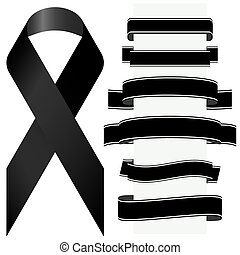 black mourning ribbon and banners - mourning concept with...