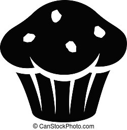 Black Muffin Icon isolated on a White Background Vector Illustration