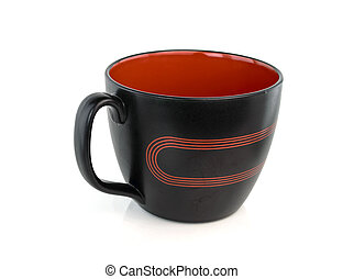 Black mug empty blank isolated on white background