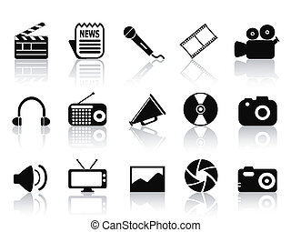 black multimedia icons set