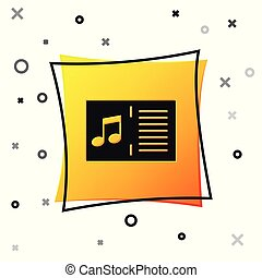 Black Music book with note icon isolated on white background. Music sheet with note stave. Notebook for musical notes. Yellow square button. Vector Illustration