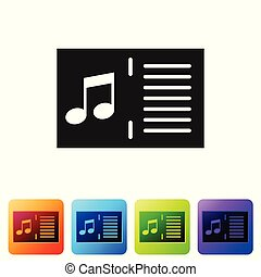 Black Music book with note icon isolated on white background. Music sheet with note stave. Notebook for musical notes. Set icon in color square buttons. Vector Illustration