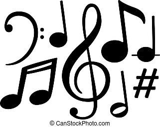 black music notes symbols vector